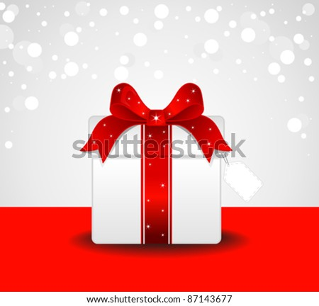 Red Gift Box - stock vector