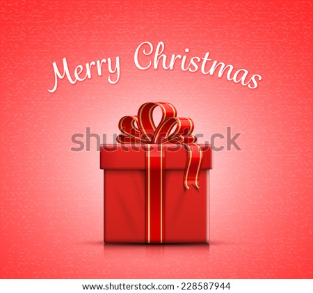 Red gift box with ribbon and bow. Merry Christmas. Vector illustration - stock vector