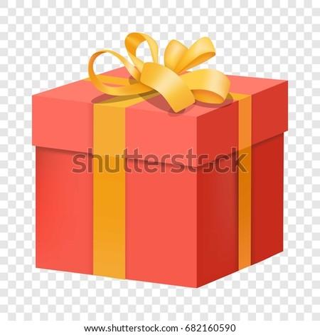 red gift box yellow ribbon icon stock vector 682160590