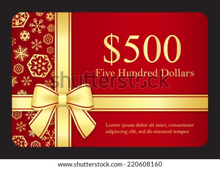 Red gift card with golden snowflakes and ribbon - stock vector