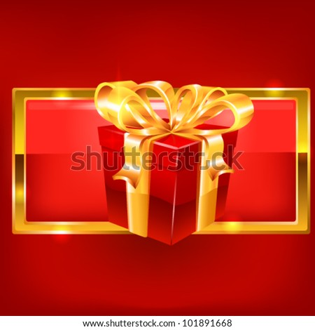 Red gift on red background. vector