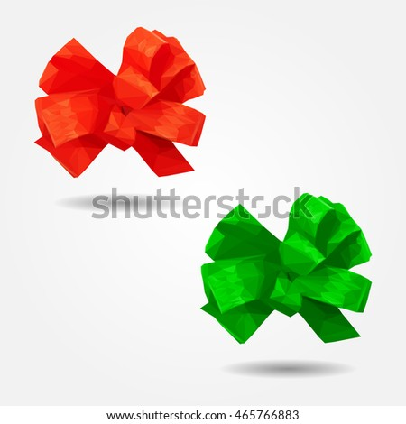Red gift ribbon bow high resolution flat triangle polygon vector eps10