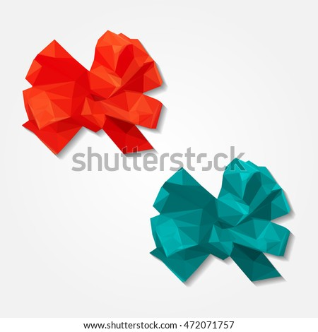 Red gift ribbon bow low resolution flat triangle polygon vector eps10