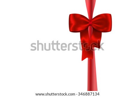 Red gift ribbon with luxurious bow isolated on white background. Bow on ribbon like gift and holiday set. Vector illustration
