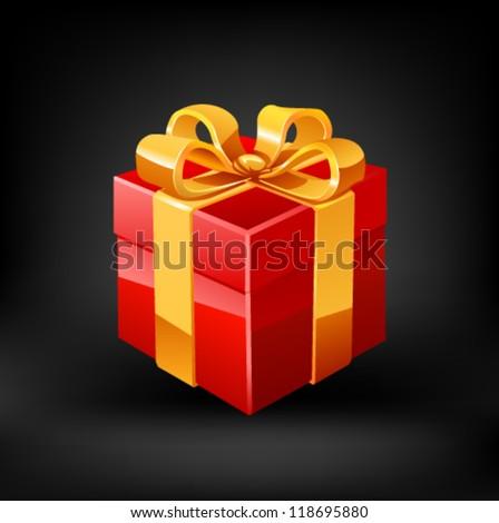 Red gift. Vector - stock vector