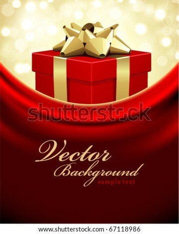 Red gift with gold bow Valentines day vector background - stock vector