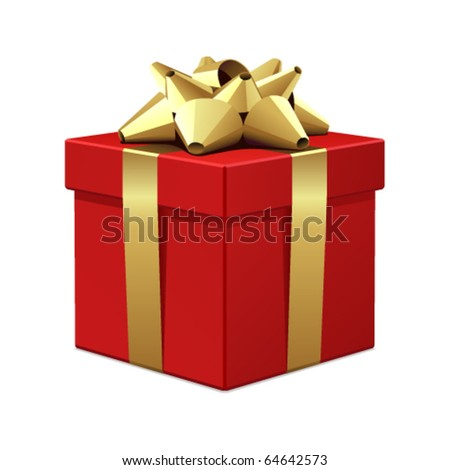 Red gift with gold bow vector illustration - stock vector