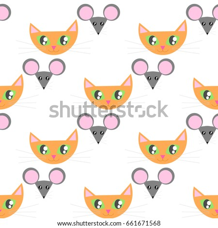 red ginger cat and mouse face funny seamless pattern bright print for kids clothing - Print For Kids