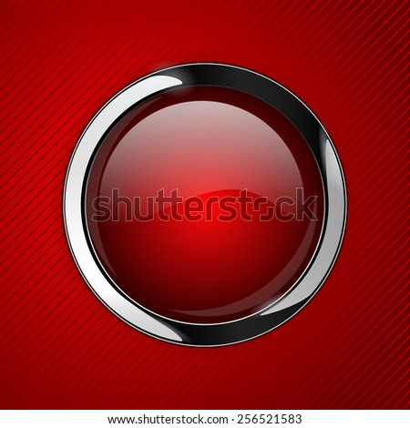 Red glass buttons on red abstract background, web icon with metallic frame. Vector illustration