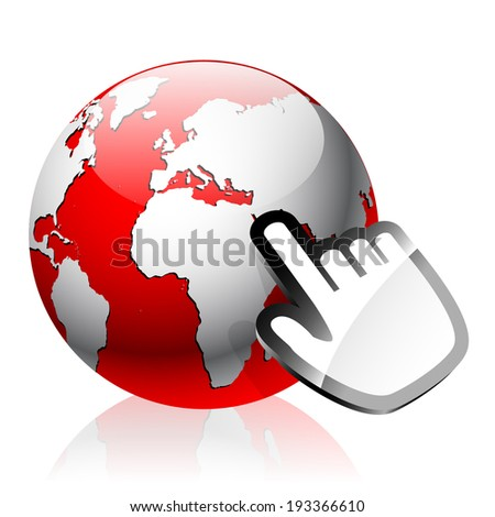 Red glass Earth globe with selection hand computer mouse cursor isolated on white background with reflection effect - stock vector