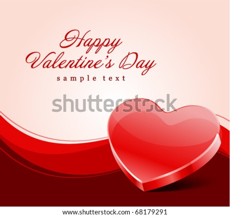 Red glass heart Valentine's day vector background