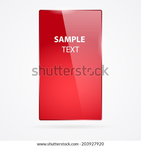 Red glass rectangle frame isolated on white. - stock vector