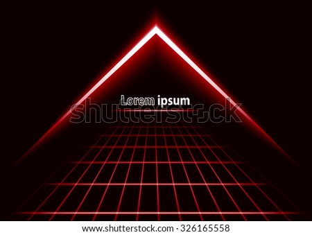 red glitter abstract futuristic perspective background with simple arrow logo. Vector illustration - stock vector