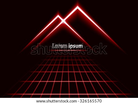 Red glitter abstract futuristic perspective background with simple mountain logo. Vector illustration - stock vector