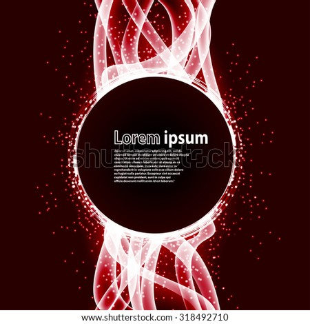 red glitter party poster abstract layout with circle surrounded by flare shimmering particle luxurious pattern. Vector illustration - stock vector