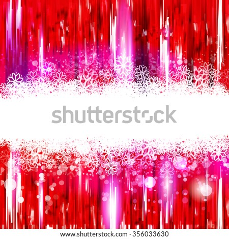 Red glossy background with snowing tape for text. Any Winter Holidays banner, poster design element. Text, business offer and quote presentation. Modern celebrating style. Vector template. - stock vector
