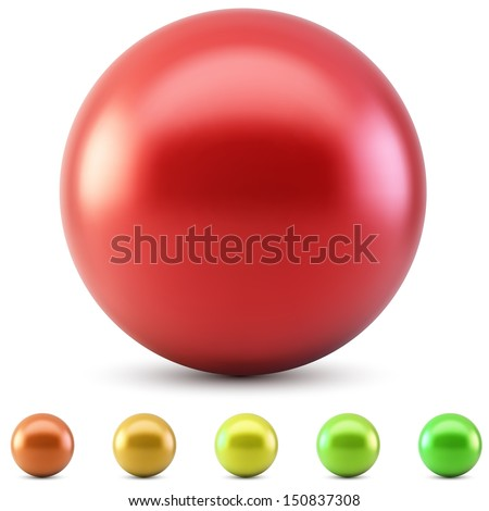 Red glossy ball vector illustration isolated on white background with warm color samples. - stock vector