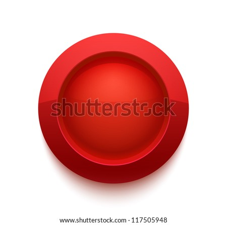 Red glossy button isolated on white. Vector illustration for your design.