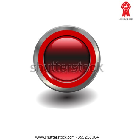 red glossy button, vector design for website