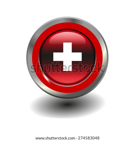 Red glossy button with metallic elements and white icon plus, vector design for website - stock vector