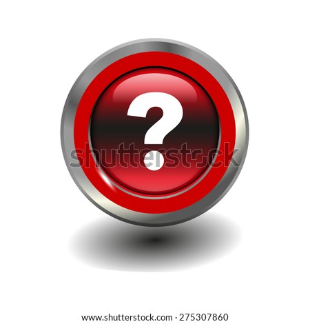 Red glossy button with metallic elements and white icon question mark, vector design for website - stock vector