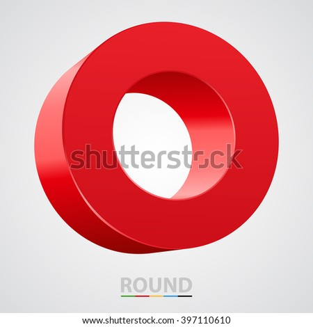 Red glossy circle isolated on white. Vector illustration