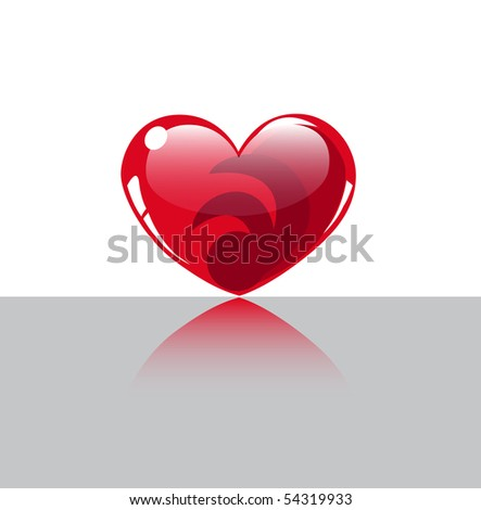 Red glossy heart - stock vector