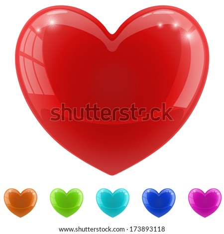 Red glossy heart vector illustration with color variants. - stock vector