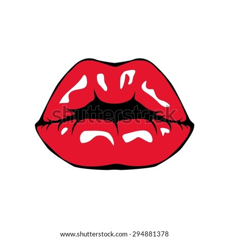 Red glossy lips retro icon isolated on white background. Vector illustration. - stock vector