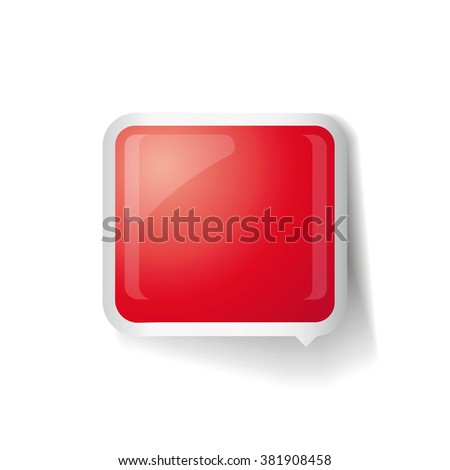 Red glossy square 3d plastic speech bubble vector - stock vector