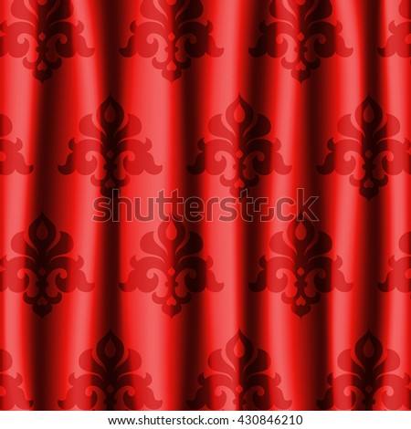 Red glossy theater curtains with ornament background. Vector illustration.
