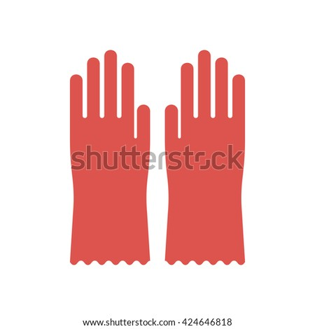 Red glove for hygiene cleaning and rubber glove wash work protection. Rubber red gloves cartoon flat icon vector illustration. - stock vector