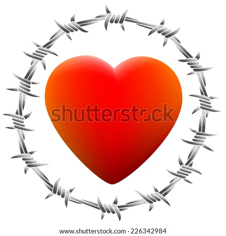Red glowing heart surrounded by barbed wire. Isolated vector illustration on white background. - stock vector