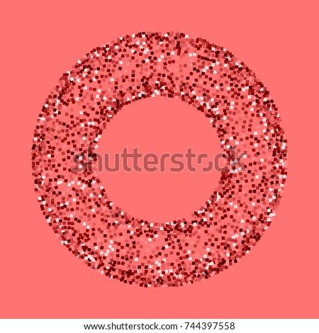 Red gold glitter. Round bagel frame on pink background. Excellent vector illustration.