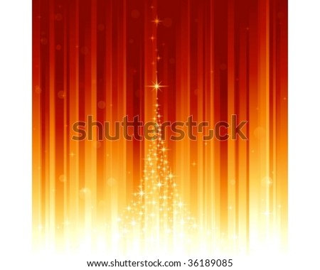 Red golden festive background with stars forming a Christmas tree and bokeh effect. Stripes controlled by 2 linear gradients. Some light dots with linear gradients. Use of global colors.
