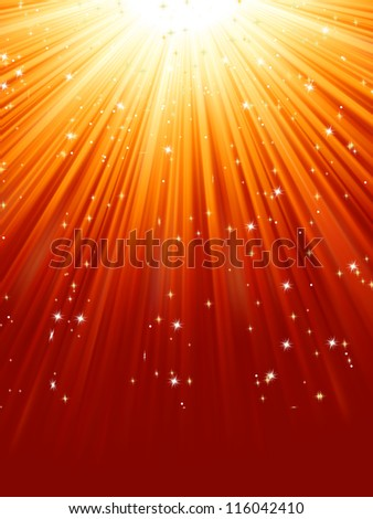 Red golden light burst with sparkling stars. EPS 8 vector file included - stock vector
