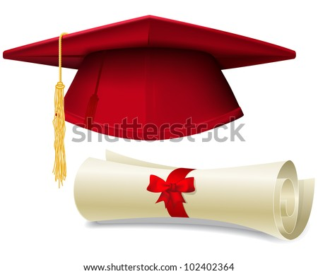 Red graduation cap, mortarboard and diploma scroll, made with gradient mesh - stock vector
