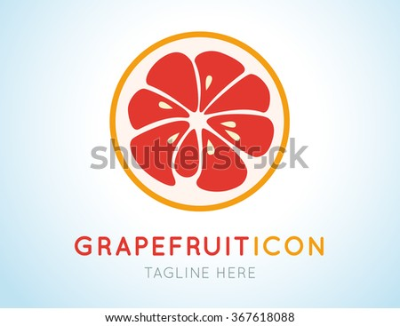 Red grapefruit stylish  icon isolated on white background. Juicy fruit logo. Logotype for citrus company. Refreshing yummy tropical summer fruit. Cocktail ingredient. Vector design illustration - stock vector