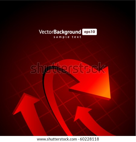 Red graph arrows vector background - stock vector