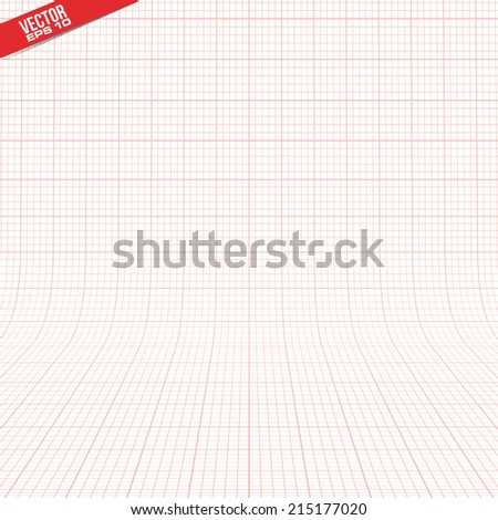 red graph paper 3d grid in vector format - stock vector