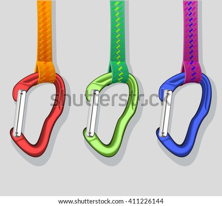 Red green and blue climbing carabiners - stock vector