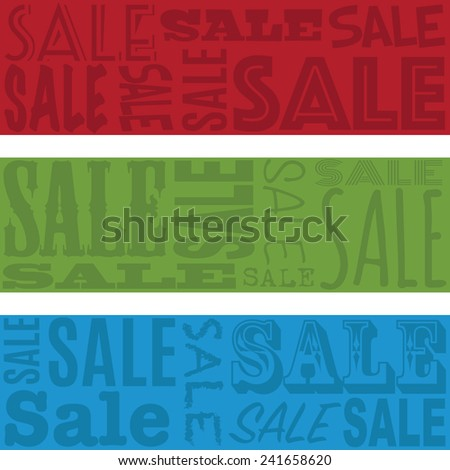 red, green and blue horizontal sale text banners - stock vector