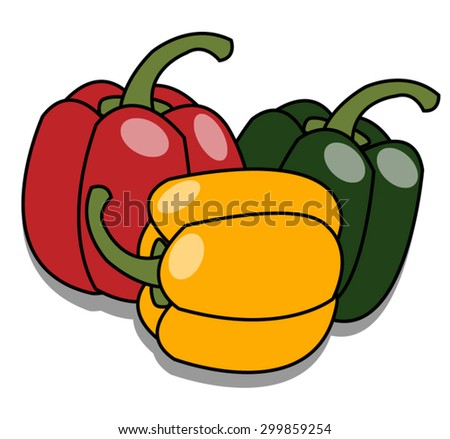 red, green and yellow sweet peppers on white background - stock vector