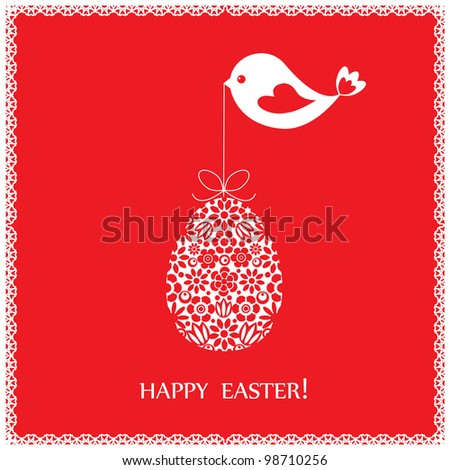 Red greeting card with bird for Easter