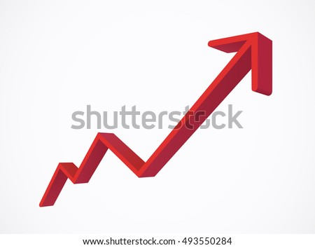 Red Growing Interest Rate Business Graph - Vector Illustration