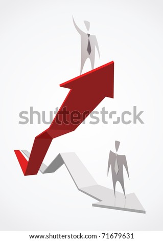 Red growing successful business graph and businessman - stock vector