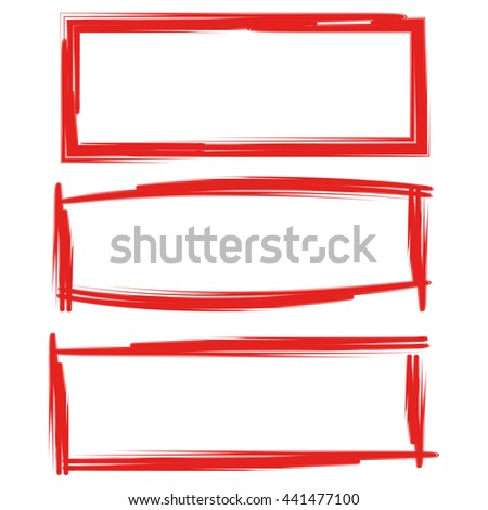red grunge blank rectangle frame set