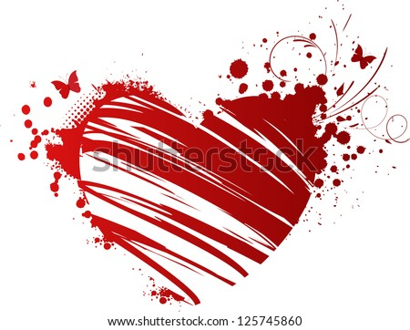 Red grunge heart with floral elements and butterflies - stock vector