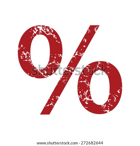 Red grunge percentage logo on a white background. Vector illustration - stock vector