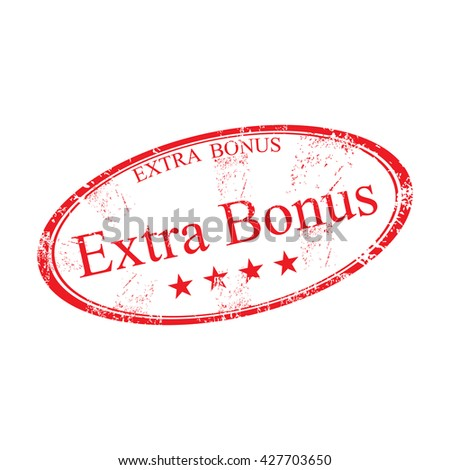 Red grunge rubber oval stamp with the text extra bonus, isolated on a white background - stock vector